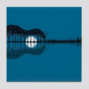 Trees sea and the moon turned guitar Tile Coaster