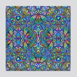 Colorful Abstract Psychedelic Symmetr Tile Coaster