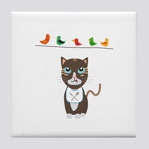 Hungry cat with birds Tile Coaster