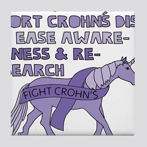 Unicorns Support Crohn's Disease Awar Tile Coaster