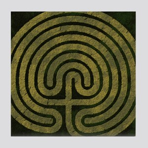 Labyrinth stone grass Tile Coaster
