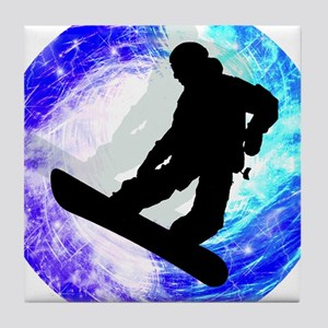 Snowboarder in Whiteout Tile Coaster