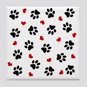 Paw Prints and Hearts Tile Coaster