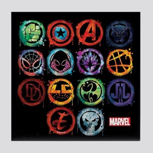 Marvel All Splatter Icons Tile Coaster