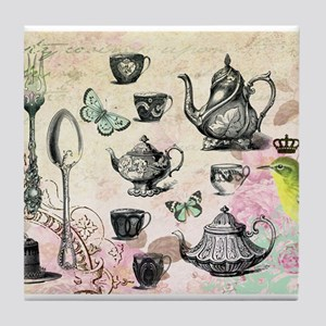 Vintage French Garden tea party Tile Coaster