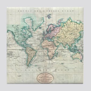 Vintage Map of The World (1801) Tile Coaster