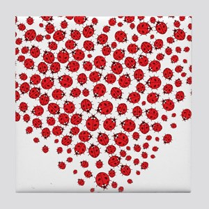 Heart of Ladybugs Tile Coaster
