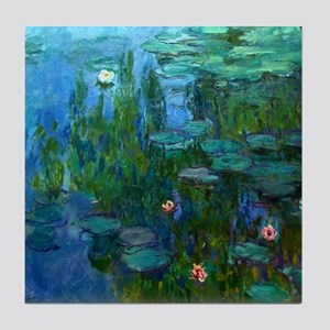 monet nymphea lily pond giverny Tile Coaster