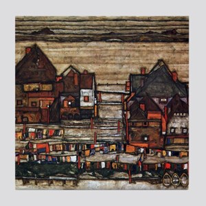 Egon Schiele Houses with laundry line Tile Coaster