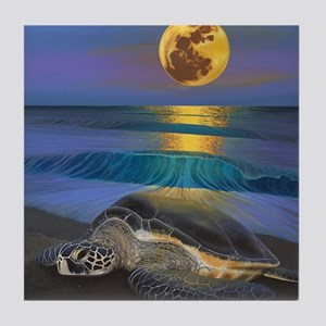 Honu Moon  Tile Coaster
