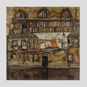 House Wall on the River by Egon Schie Tile Coaster