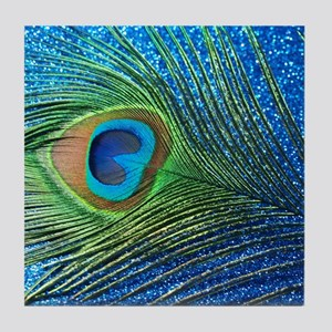 Glittery Blue Peacock Feather still l Tile Coaster
