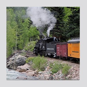 Steam train & river, Colorado Tile Coaster