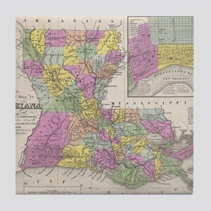 Vintage Map of Louisiana (1853) Tile Coaster