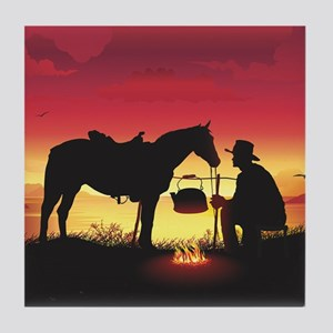 Cowboy and Horse at Sunset Tile Coaster
