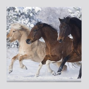 Horses Running In The Snow Tile Coaster