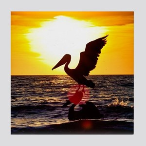 Pelican On Ocean At Sunset Tile Coaster