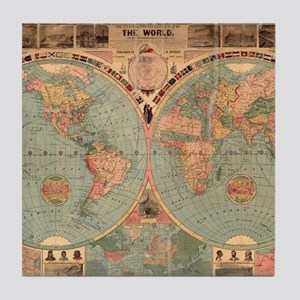 Vintage Map of The World (1883) Tile Coaster