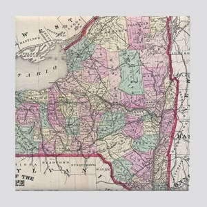 Vintage Map of New York (1873) Tile Coaster