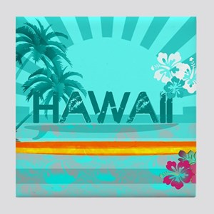 Hawaii Emerald sun fish ocean Tile Coaster