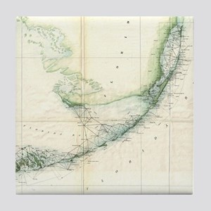 Vintage Map of The Florida Keys (1859 Tile Coaster