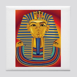 Tut Mask on Red Tile Coaster