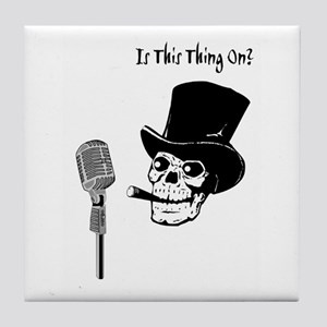 Skull In Top Hat With Microphone Tile Coaster