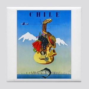 Chile Travel Poster 1 Tile Coaster