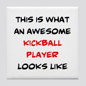 awesome kickball player Tile Coaster
