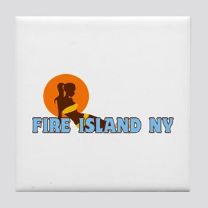 Fire Island - Sunbathing Design Tile Coaster
