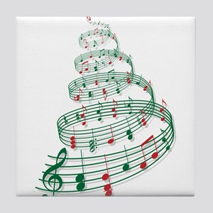 Christmas tree with music notes and heart Tile Coa