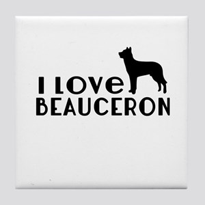 I Love Beauceron Tile Coaster
