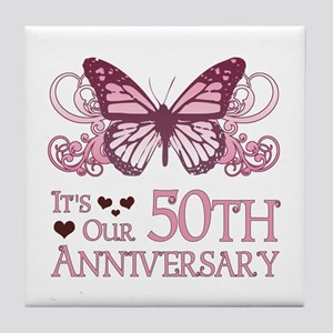 50th Wedding Aniversary (Butterfly) Tile Coaster