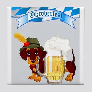 Oktoberfest Daschund with Banner and Beer Stein Ti