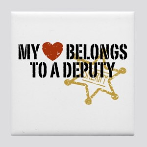 My Heart Belongs to a Deputy Tile Coaster