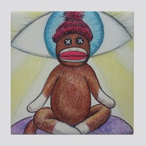 Yoga Sock Monkey Tile Coaster