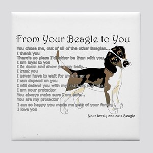 A Beagle's Letter To You Tile Coaster