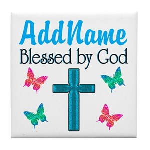 BLESSED BY GOD Tile Coaster