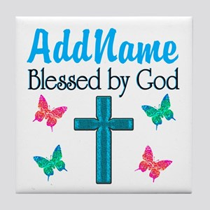 BLESSED BY GOD Tile Coaster