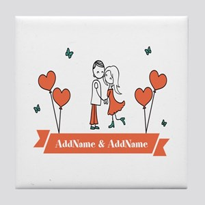 Personalized Names Couple Hearts Tile Coaster