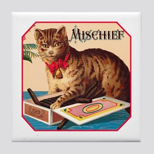 VINTAGE CAT ART Tile Coaster