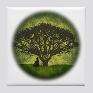Buddha Beneath the Bodhi Tree Tile Coaster