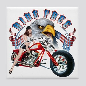 CP1011-Ride Free Babe And Eagle Tile Coaster