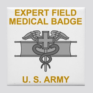 Army-Expert-Field-Medical-Badge-Black Tile Coaster
