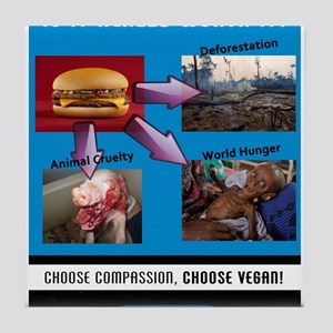 Choose Compassion, Choose Vegan Tile Coaster