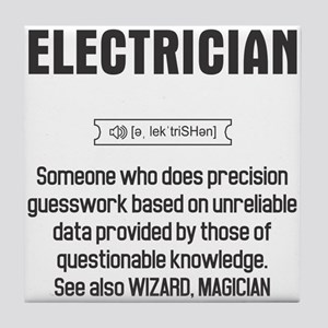 Funny Electrician Definition Tile Coaster