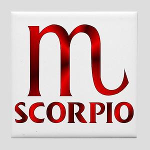 571defdb Red Scorpio Symbol Tile Coaster