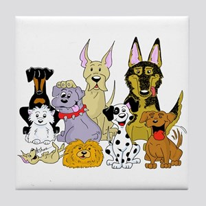 Cartoon Dog Pack Tile Coaster