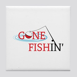 Gone fishing bobber and fishing pole Tile Coaster