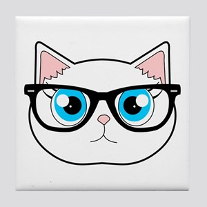 490808d092ced Cute Hipster Cat with Glasses Tile Coaster
